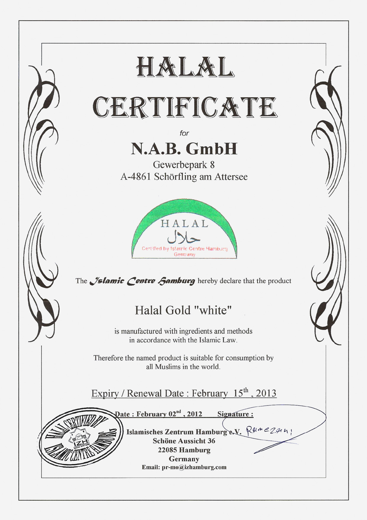 Halal gold certificate for download yadclub Image collections